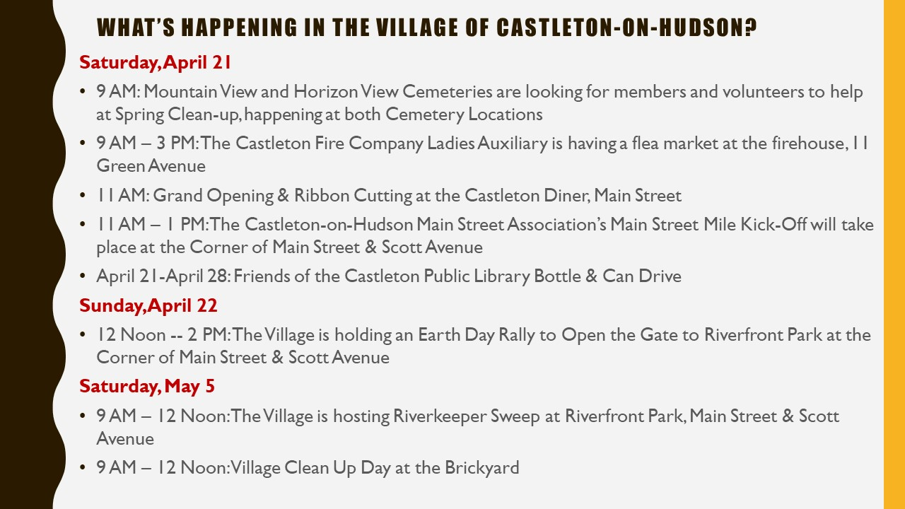 Whats Happening in The Village of Castleton on Hudson